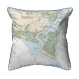 Baldhead Island North Carolina Nautical Chart 22 x 22 Pillow