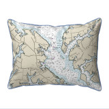 Chesapeake Bay - Miles River, MD Nautical Map 20 x 24 Pillow