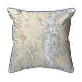 Chesapeake Bay - Rock Hall, MD and VA Nautical Map 22 x 22 Pillow