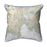 North Shore Long Island to Niantic Bay, Connecticut  Nautical Chart 22 x 22 Pillow - Light Blue