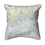 Fishers Island Sound, Rhode Island Nautical Chart 22 x 22 Pillow