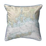 Fishers Island Sound, Rhode Island Nautical Chart 22 x 22 Pillow