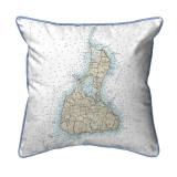 Block Island, Rhode Island Nautical Chart 22 x 22 Pillow