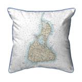 Block Island, Rhode Island Nautical Chart 22 x 22 Pillow