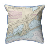 Block Island Sound - Quonochontaug, Rhode Island Nautical Chart 22 x 22 Pillow