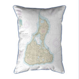 Block Island Number 2, Rhode Island Nautical Chart 20 x 24 Pillow