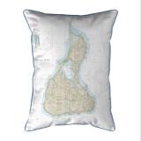 Block Island Number 2, Rhode Island Nautical Chart 20 x 24 Pillow
