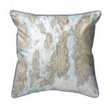Narragansett Bay, Rhode Island Nautical Chart 20 x 24 Pillow
