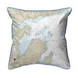 Salem, Marblehead and Beverly Harbors, MA Nautical Chart 22 x 22 Pillow