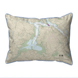 Portsmouth to Dover and Exeter - Great Bay, New Hampshire Nautical Chart 20 x 24 Pillow