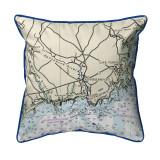 Kennebunckport, Maine Nautical Chart 22 x 22 Pillow