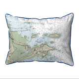 Biddleford Pool, Maine Nautical Chart 20 x 24 Pillow dark blue