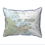 Biddleford Pool, Maine Nautical Chart 20 x 24 Pillow dark blue
