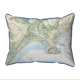 Pine Point, Maine Nautical Chart 20 x 24 Pillow dark blue