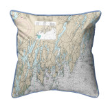 Light Blue Southport - Pemaquid ,Maine Nautical Chart 22 x 22 Pillow