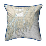 Dark Blue Southport - Pemaquid ,Maine Nautical Chart 22 x 22 Pillow