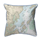 Portland Harbor and Vicinity, Maine 22 x 22 Nautical Chart Pillow light blue