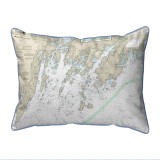 Muscongus Bay, Maine Nautical Chart 20 x 24 Pillow