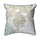 Frenchman and Blue Hill Bays, Maine Nautical Chart 22 x 22 Pillow