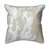 North Hero Island, Vermont Nautical Chart 22 x 22 Pillow