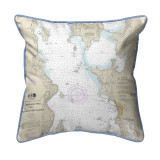 Cumberland Head to Four Brothers Islands, Vermont Nautical Chart 22 x 22 Pillow
