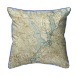 Lake Winnisquam, New Hampshire Nautical Chart 22 x 22 Pillow