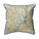 Lake Winnisquam, New Hampshire Nautical Chart 22 x 22 Pillow