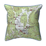 Big Island Pond, New Hampshire 22 x 22 Nautical Map Pillow