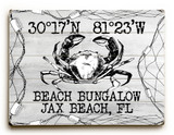 Black and White Custom Crab in Net Beach Sign