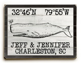 Custom Coordinates Vintage Black and White Whale Sign