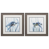 Sea Turtles in the Grass - Framed Set of 2