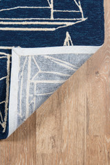 Navy and White Sailboat Sketch Rug with backing
