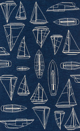 Navy and White Sailboat Sketch Rug main image