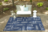 Navy and White Sailboat Sketch Rug room image