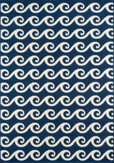 Navy Blue Baja Waves Area Rug