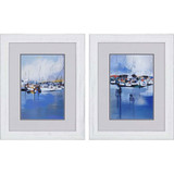 Docked Boats Art Set of 2