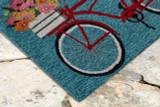 Go for a Bike Ride Blue Rug corner image