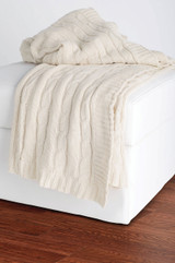 Cream Cable Knit Throw