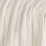 Cream Cable Knit Throw  close up