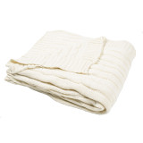 Cream Cable Knit Throw  folded image