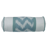 Catalina Aqua and White Neck Roll Pillow