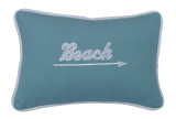 Embroidered Aqua Beach and Arrow Pillow