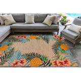 Tropic Botanical Border Rug room view