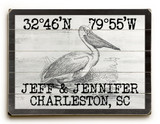 Custom Coordinates Vintage Black and White Pelican Sign