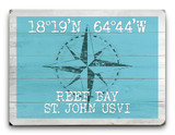Custom Latitude-Longitude Beach Sign - Surfin' Blue