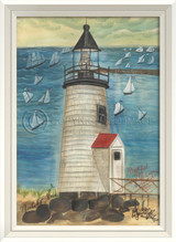 Brant Point Lighthouse Art with White Frame
