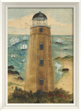 Cape Henry Lighthouse Art with White Frame