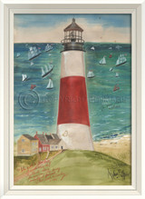 The Path to SanKaty Lighthouse Art with White Frame