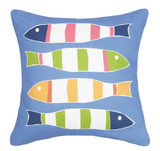 Bright Blue Picket Fish Printed Pillow