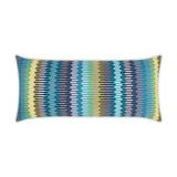 Sunfun Aqua Stripe Lux Lumbar Indoor-Outdoor Pillow